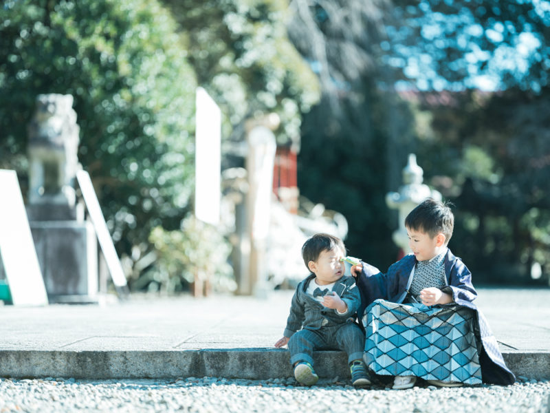 栃木県護国神社、5歳七五三、しゅんくん!兄弟写真