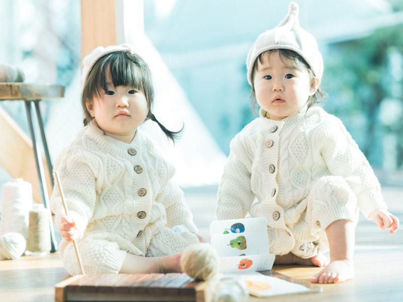1歳双子バースデー、りほちゃん、さらちゃん!