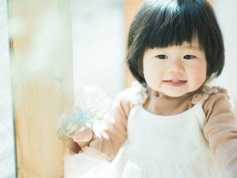 1歳バースデーフォト、つむぎちゃん!笑顔、前歯