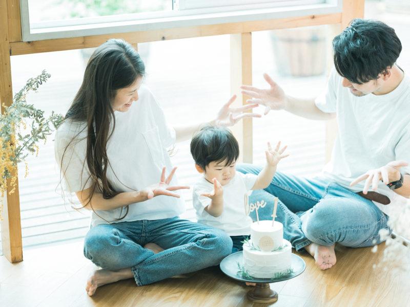 1歳バースデーフォト、みづきくん!家族写真