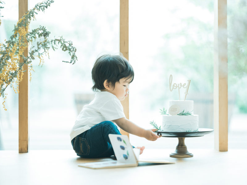 1歳バースデーフォト、みづきくん!クレイケーキ