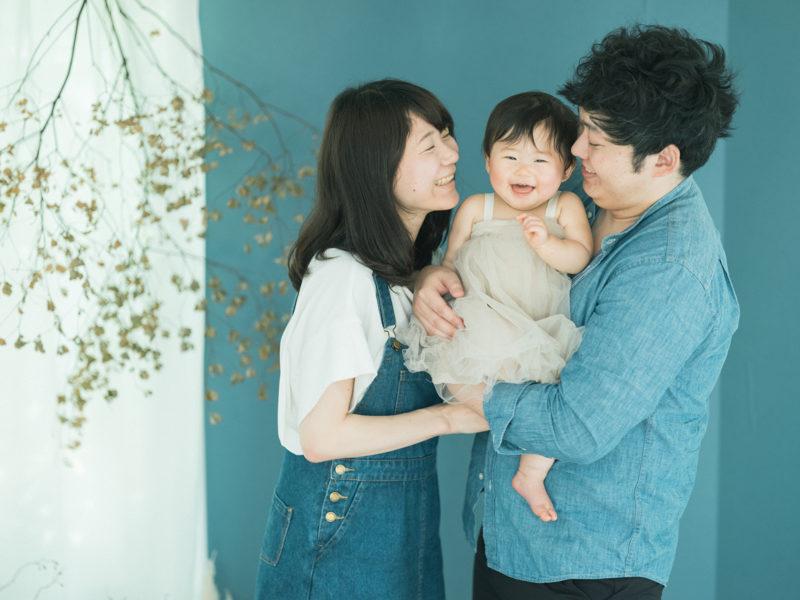 1歳バースデーフォト、りのちゃん!家族写真