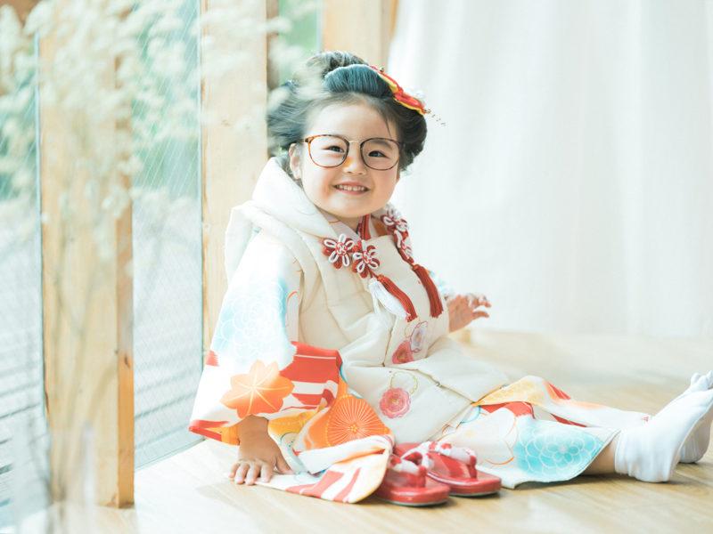 3歳七五三、はるちゃん!お洒落眼鏡、日本髪