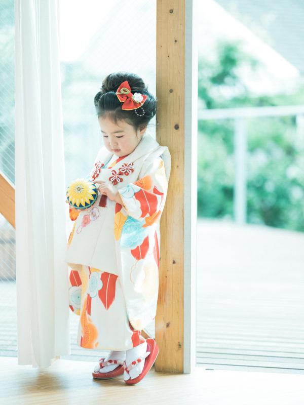 3歳七五三、はるちゃん!鞠、モダンな衣裳