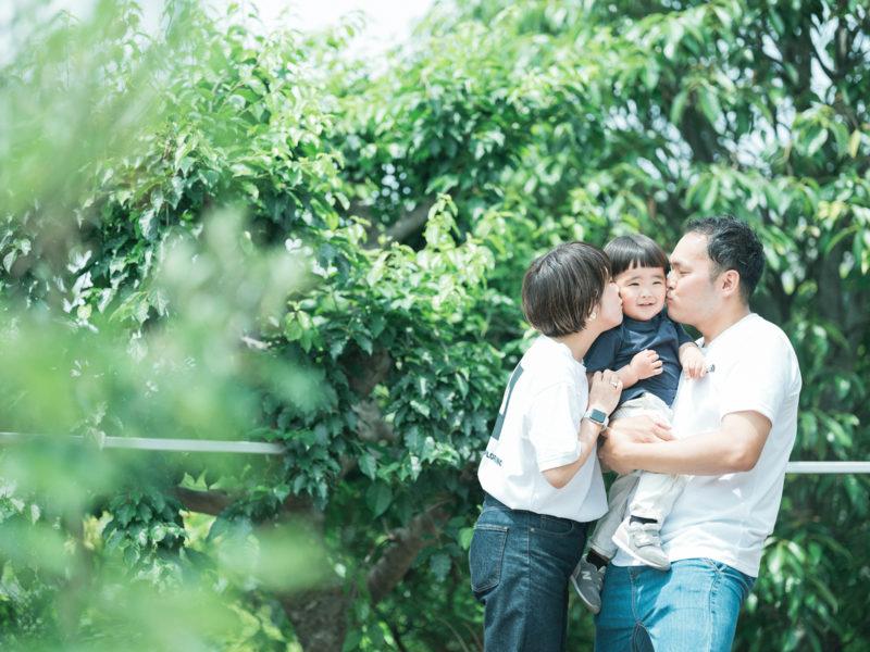 2歳バースデーフォト、むうくん!家族写真