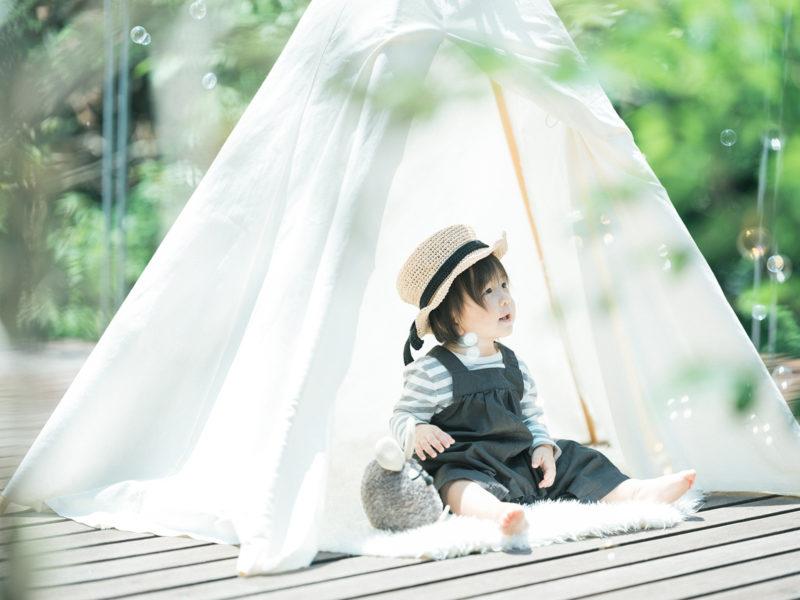 1歳バースデーフォト、りょうたろうくん!ティピーテント、カンカン帽