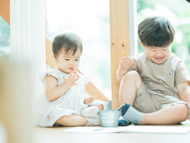 1歳バースデーフォト、のあちゃん!兄弟写真