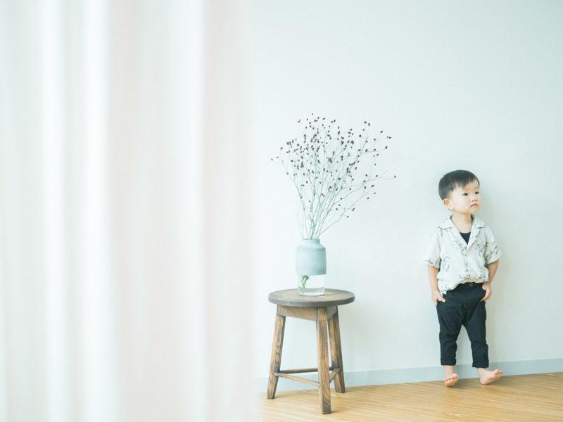 3歳バースデーフォト、しゅうくん!ワレモコウ