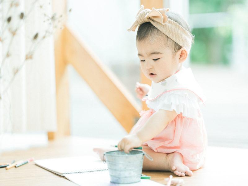 1歳バースデーフォト、もかちゃん!可愛いヘッドパーツ