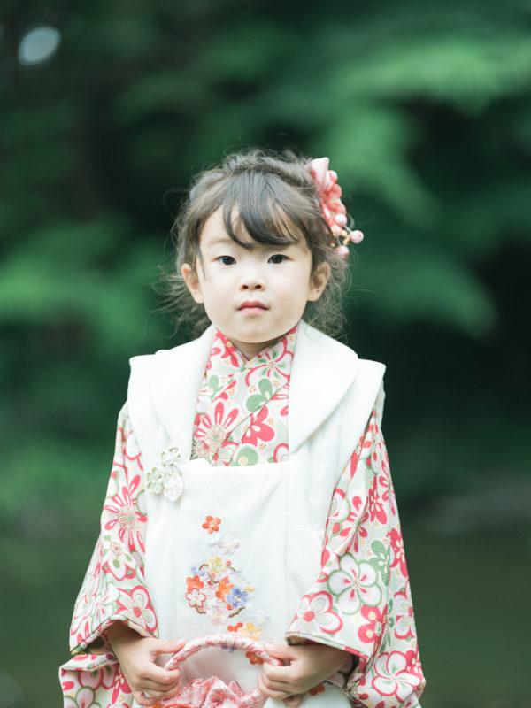 3歳5歳七五三、中央公園ロケ!こはなちゃん、可愛い着物