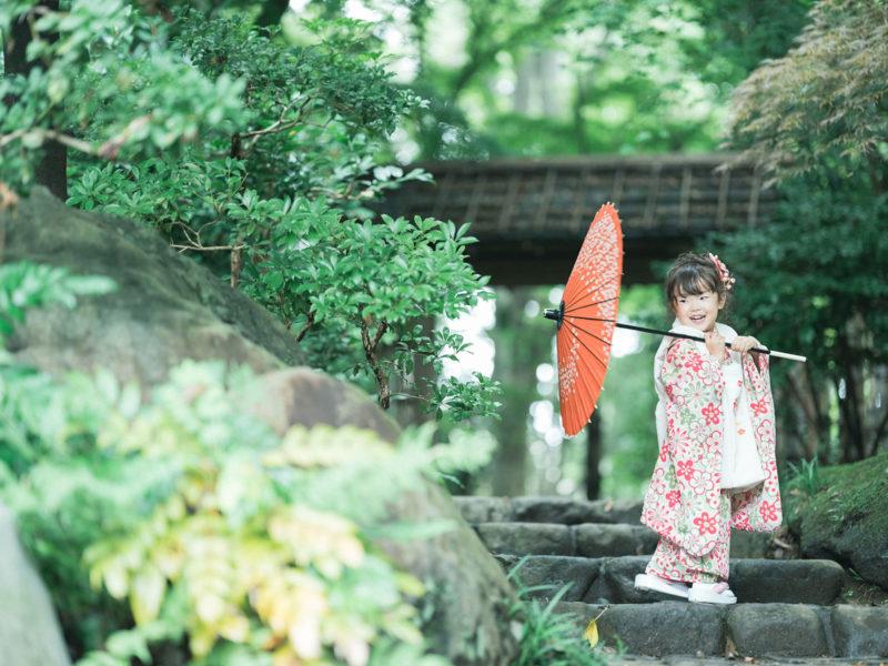 3歳5歳七五三、中央公園ロケ!こはなちゃん、番傘