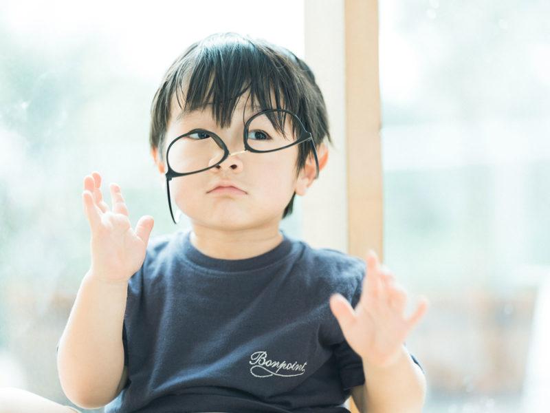 3歳バースデーフォト、りくくん!お洒落眼鏡