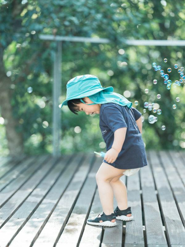 3歳バースデーフォト、りくくん!シャボン玉