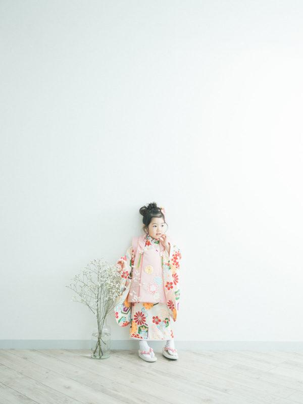 3歳七五三、りのちゃん!モダンでお洒落な着物。