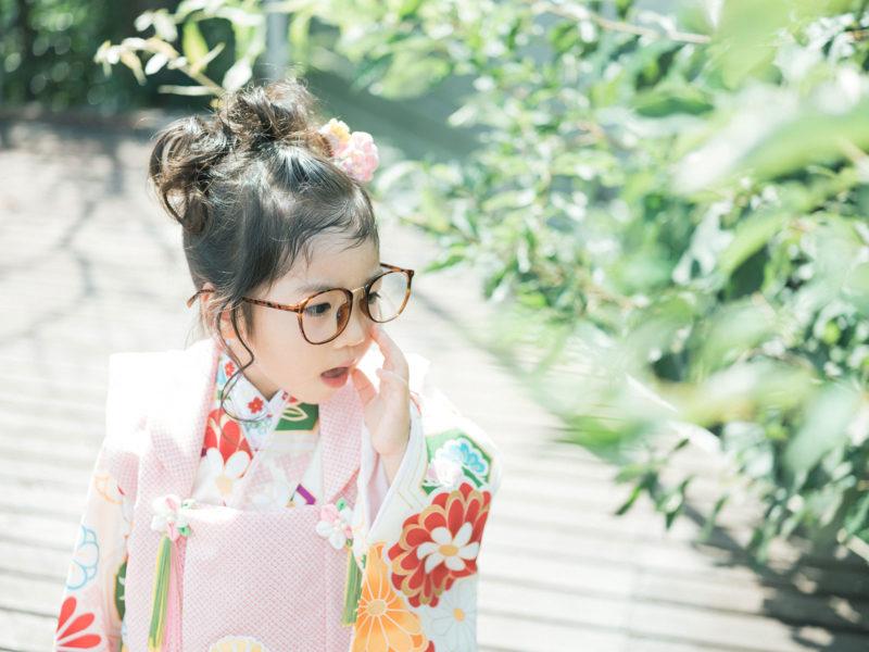 3歳七五三、りのちゃん!モダンでお洒落な着物。だて眼鏡
