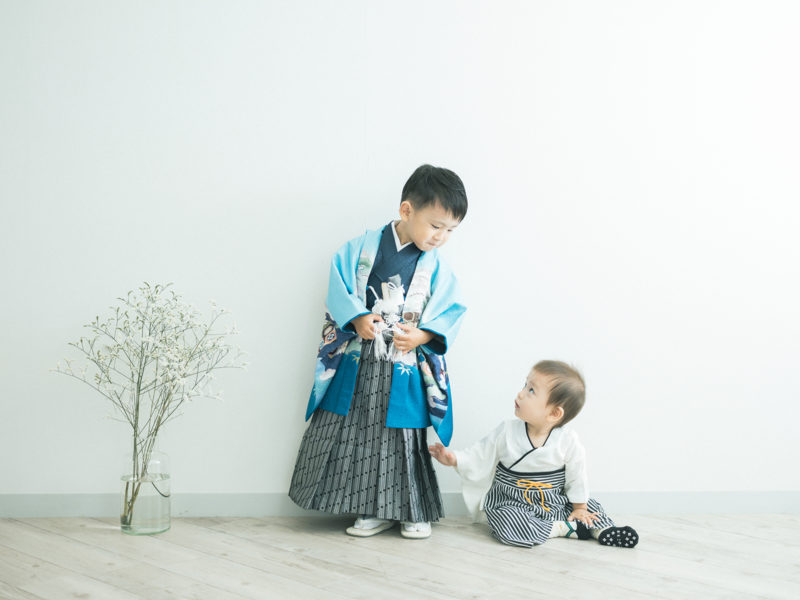5歳七五三、いっせいくん!兄弟写真、和装ロンパース