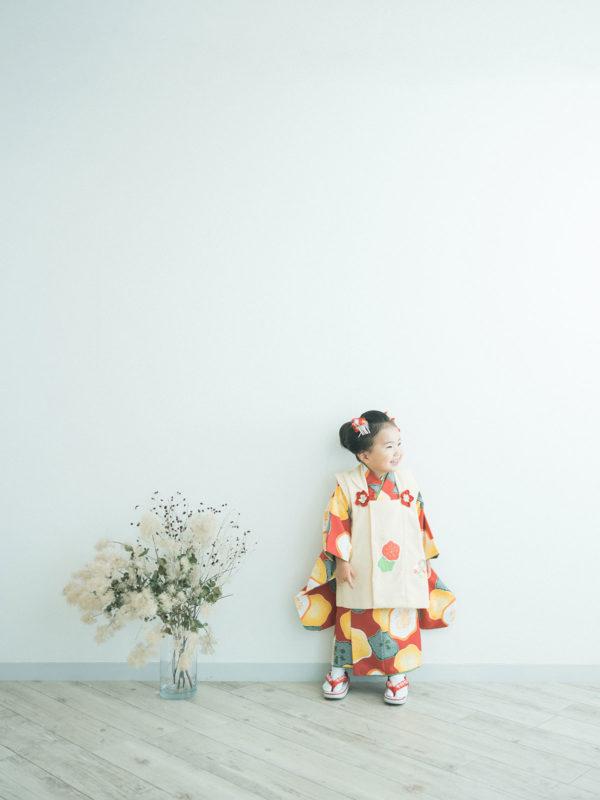 3歳七五三、になちゃん!モダンな着物、日本髪