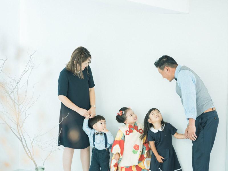 3歳七五三、になちゃん!家族写真