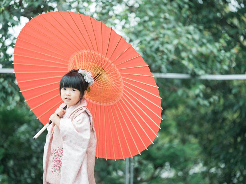3歳七五三、ほのかちゃん!番傘