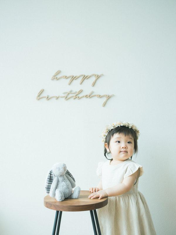 1歳バースデーフォト、ゆのちゃん!お洒落な花冠