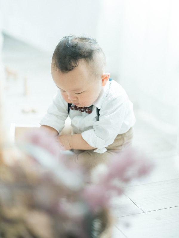 1歳バースデーフォト、だいくん!可愛い髪の毛