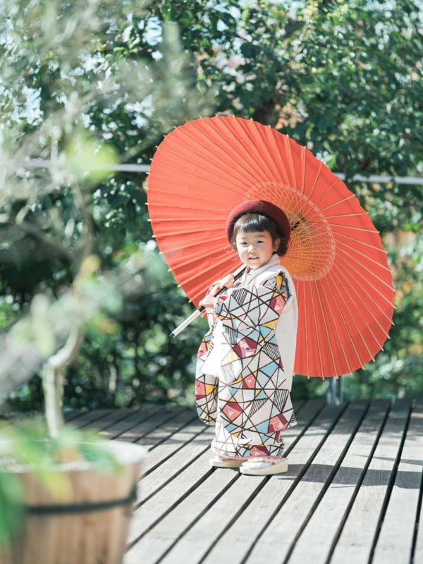 3歳七五三、ゆめかちゃん!番傘