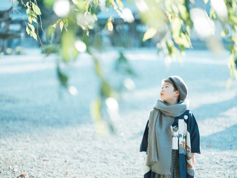 白鷺神社出張撮影、5歳七五三、こうすけくん!お洒落ストール、ベレー帽