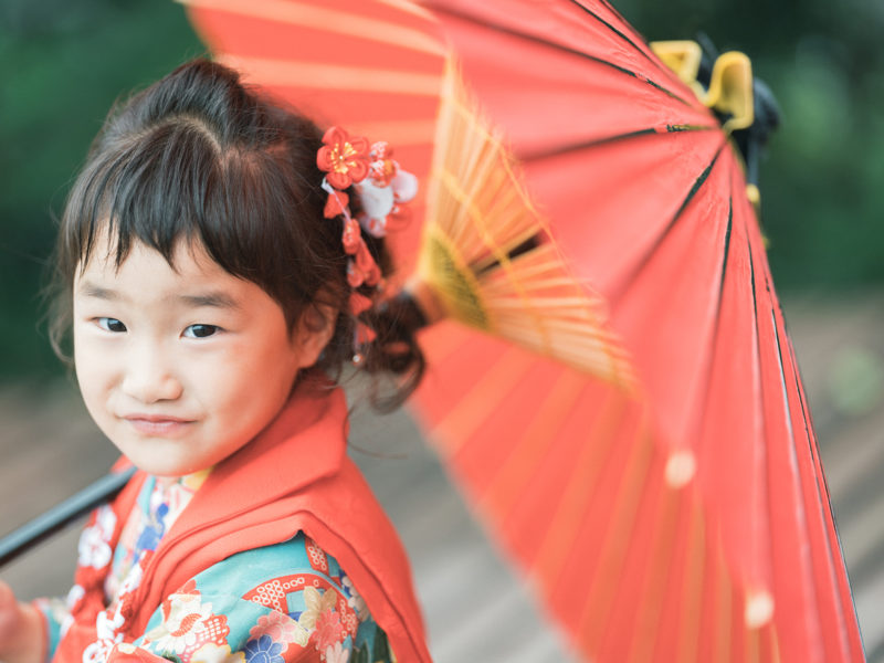 3歳七五三、ひなたちゃん!番傘