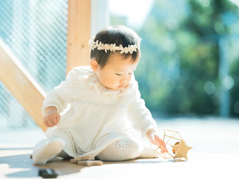 1歳バースデーフォト、りこちゃん!可愛いヘッドパーツ