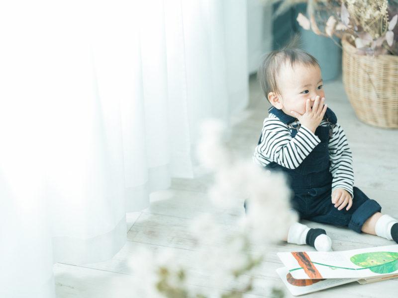 1歳バースデーフォト、かんたくん!可愛い仕草