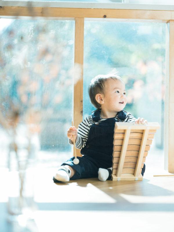 1歳バースデーフォト、かんたくん!木琴