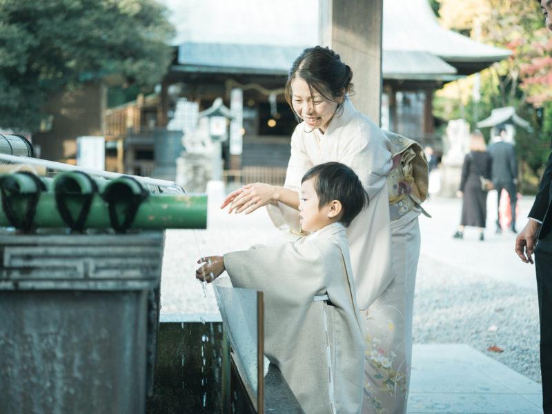 宇都宮二荒山神社、七五三ロケ、5歳七五三、ゆうとくん!手水