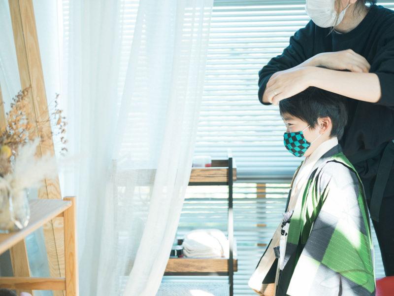 宇都宮二荒山神社、七五三ロケ、5歳七五三、ゆうくん!メイクシーン