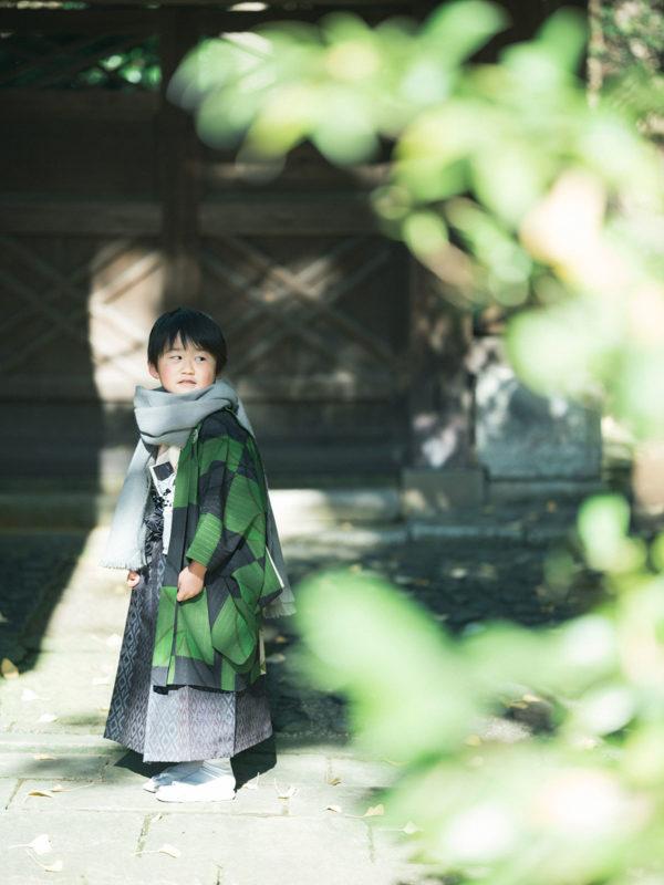 宇都宮二荒山神社、七五三ロケ、5歳七五三、ゆうくん!ストールコーデ、モダンな着物