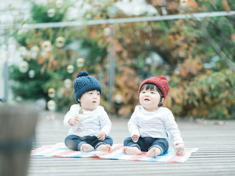 1歳バースデーフォト、双子ちゃん、いちかちゃん、たいようくん!