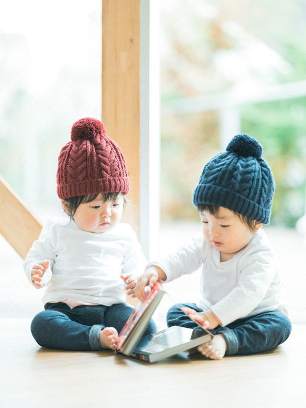 1歳バースデーフォト、双子ちゃん、いちかちゃん、たいようくん!絵本