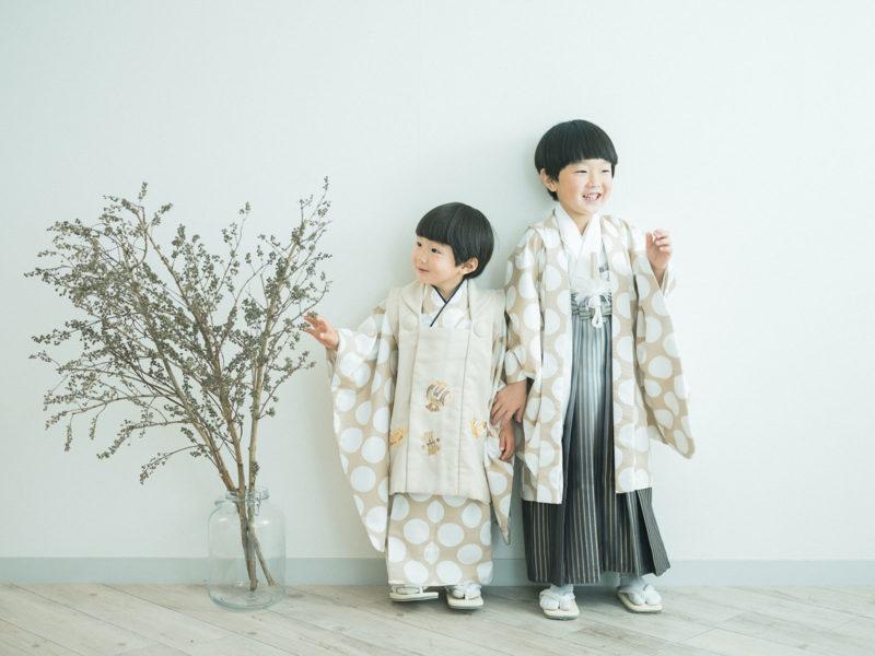 5歳、3歳男の子の七五三、はるくん、しゅうくん!兄弟写真、お揃いの着物