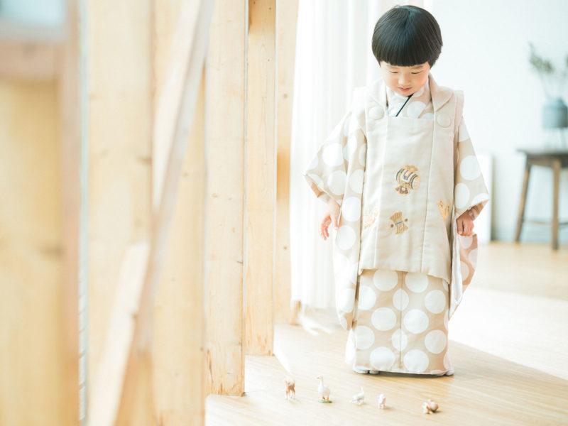 3歳男の子の七五三、しゅうくん!モダンな着物
