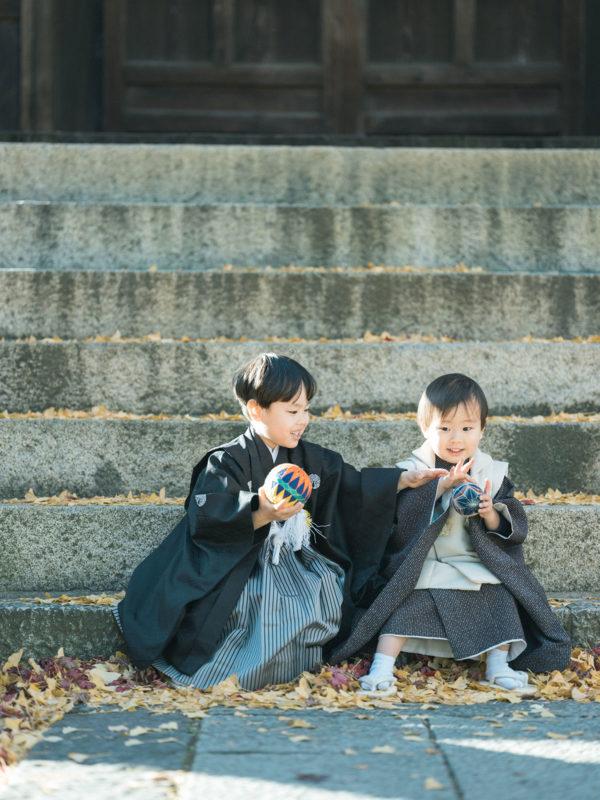 鑁阿寺、5歳、3歳男の子の七五三、あおとくん、しゅうくん!兄弟写真
