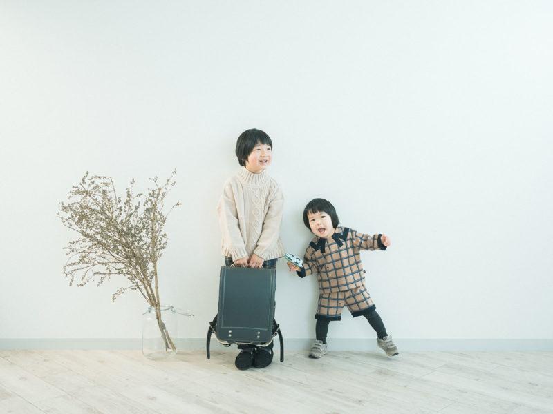 入学記念、みなとくん!土屋鞄のランドセル、兄弟写真
