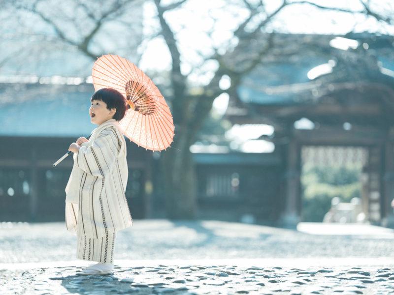 宇都宮二荒山神社、七五三ロケ、3歳男の子の七五三、かいちゃん!番傘