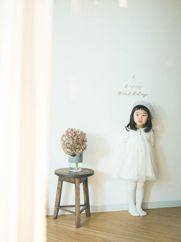 4歳バースデーフォト、ゆあちゃん!紫陽花