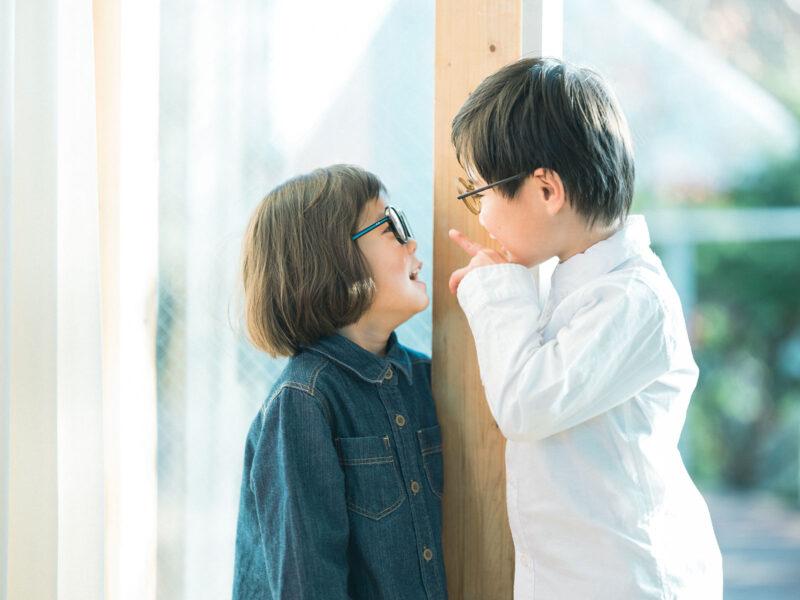 お洒落メガネ、兄弟写真、はるのすけくん、みこちゃん