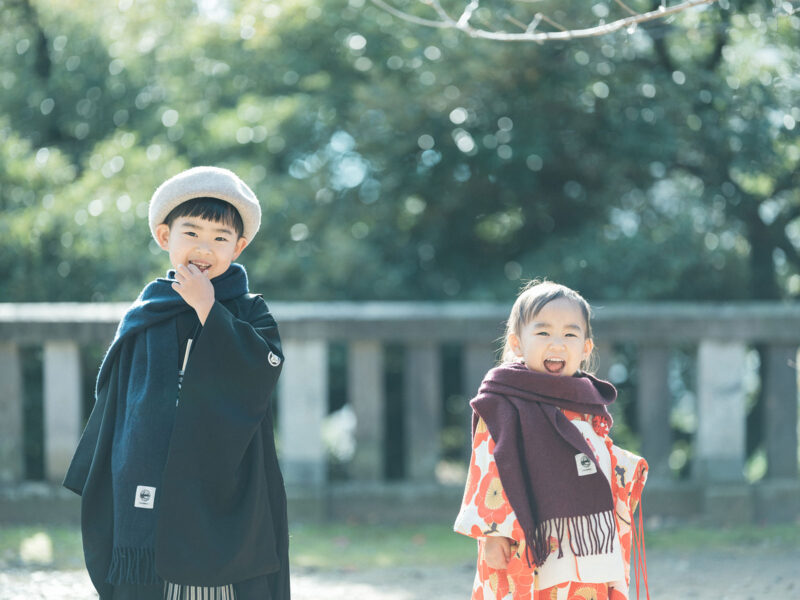 3歳、5歳七五三、宇都宮二荒山神社ロケ、あこちゃん、りんのすけくん!お洒落ストール