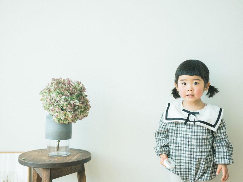 2歳バースデーフォト、いちかちゃん!紫陽花