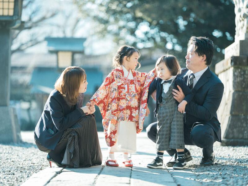 宇都宮二荒山神社ロケ、3歳七五三、まひろちゃん!家族写真