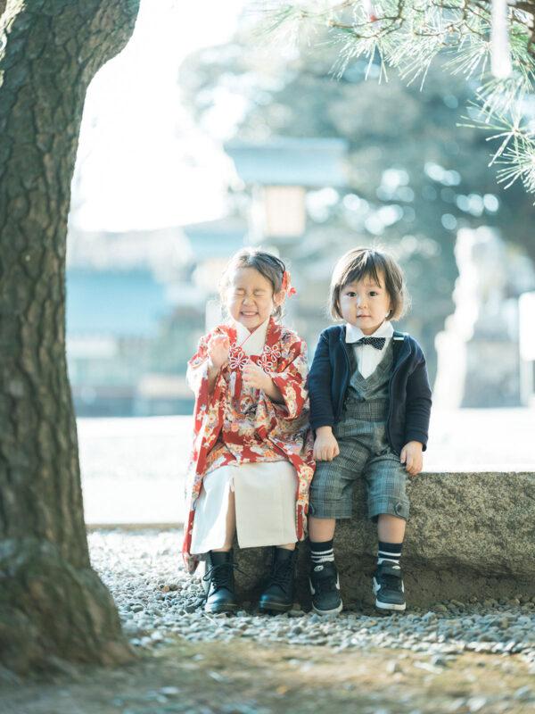 宇都宮二荒山神社ロケ、3歳七五三、まひろちゃん!兄弟写真
