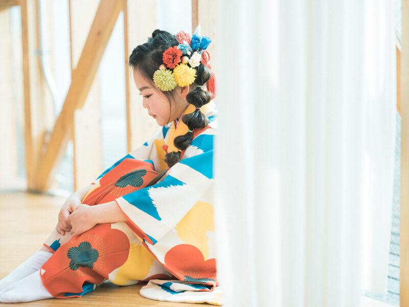 7歳七五三、まかちゃん!お洒落な髪飾り、生花の髪飾り