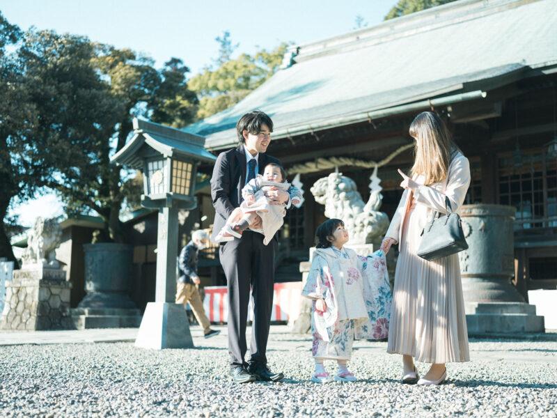 宇都宮二荒山神社ロケ、3歳七五三、さなちゃん!家族写真