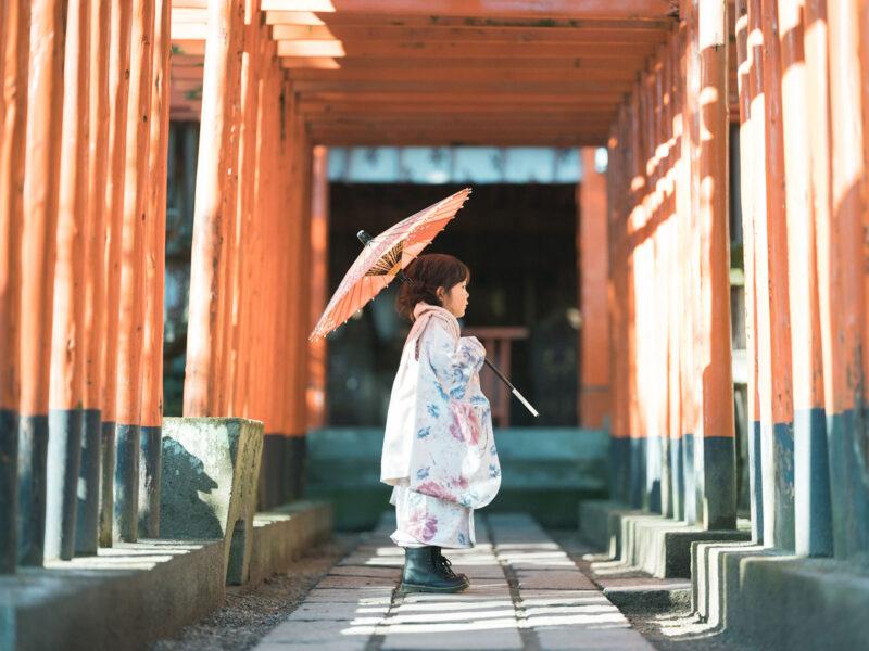 宇都宮二荒山神社ロケ、3歳七五三、さなちゃん!稲荷神社、番傘